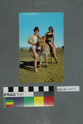 Postcard: Two women and a donkey