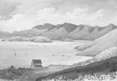 Painting: View taken from terrace in front of Mr Fitzgerald's House at Lyttelton