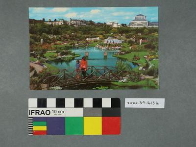 Postcard: Garden and pond scene