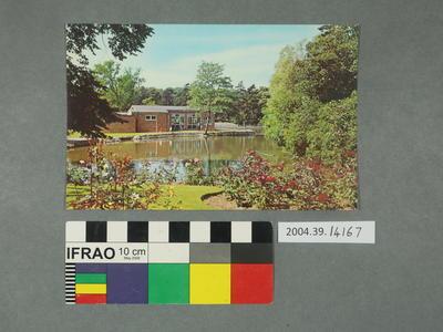 Postcard: Body of water and garden scene