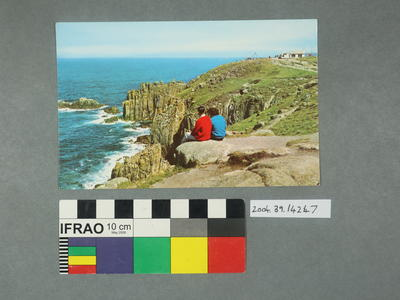 Postcard: Two people sitting on a clifftop scene