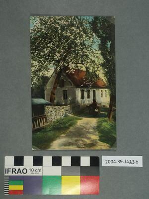 Postcard: Woman on a garden path
