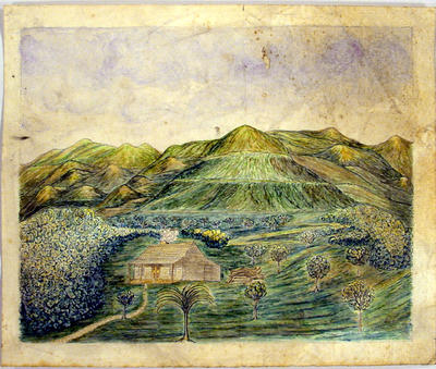 Painting: Sketch of the Mangauarara on the Tukituki River, Ahuriri, on Mr Curling's Station, New Zealand