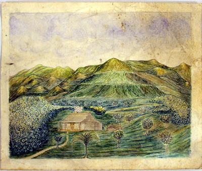 Painting: Sketch of the Mangauarara on the Tukituki River, Ahuriri, on Mr Curling's Station, New Zealand; Circa 1860; 2000.190.2