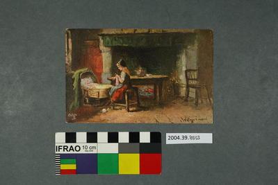 Postcard: Woman and baby