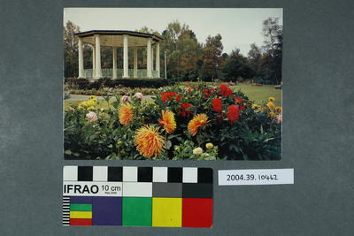 Postcard of a gazebo and flowers