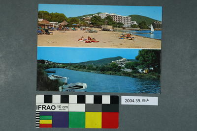 Postcard of a beach and river