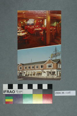 Postcard: Restaurant interior and exterior