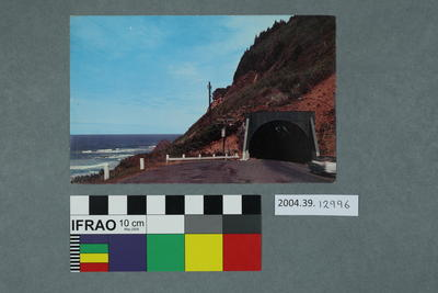 Postcard of water view and tunnel