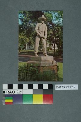 Postcard of a cowboy monument
