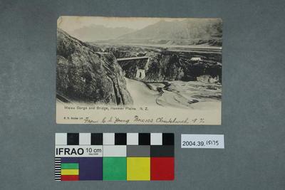 Postcard: Waiau Gorge and Bridge, Hanmer Plains
