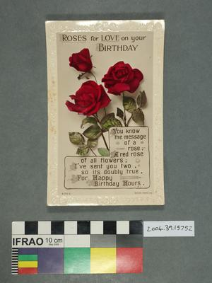 Postcard: Roses for Love on your Birthday