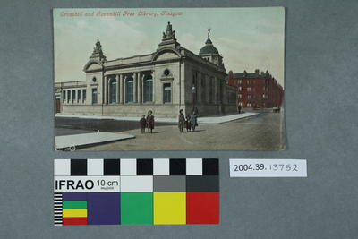 Postcard: Crosshill and Govanhill Free Library, Glasgow