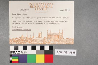 Postcard: International Biographical Centre