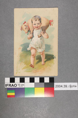 Postcard: Child with pig