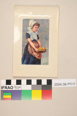 Postcard of a girl with fruit