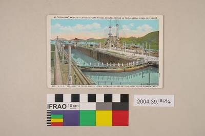 Postcard: Arkansas in Pedro Miguel Locks, Showing Sailors Getting Shore Leave, Panama Canal
