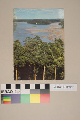 Postcard of a lake and trees