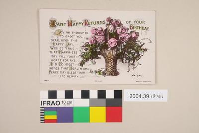 Postcard: Many Happy Returns of Your Birthday; 2004.39.18751