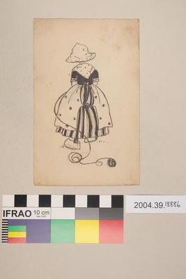 Postcard of a girl and ball of yarn