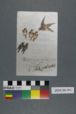 Postcard of swallows on powerlines
