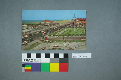Postcard of a busy shoreline and promenade