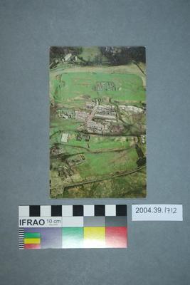 Postcard of an aerial view of Vindolanda