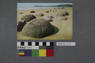Postcard of Moeraki boulders