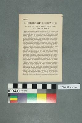 Set of Postcards Illustrating Antique Bronzes in the British Museum