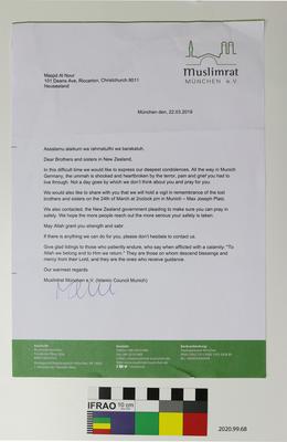 Letter: Muslimrat Muenchen
