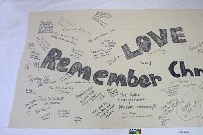 Banner: Love, Peace, Remember