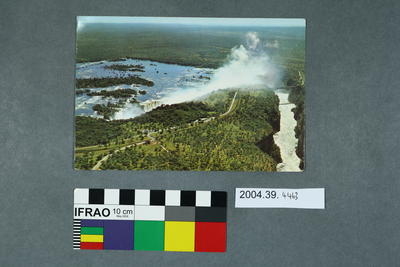 Postcard of an aerial of Victoria Falls