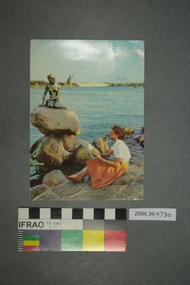Postcard of a mermaid statue