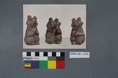 Postcard of three animal figurines