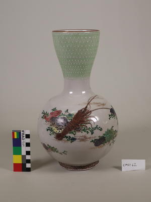 Green and white vase