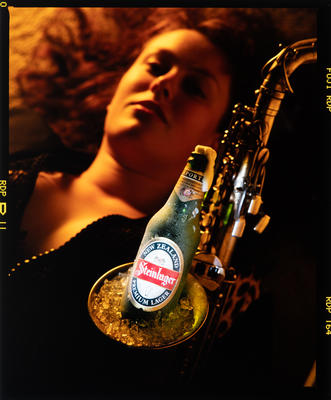 Negative: Woman With Saxophone And Steinlager