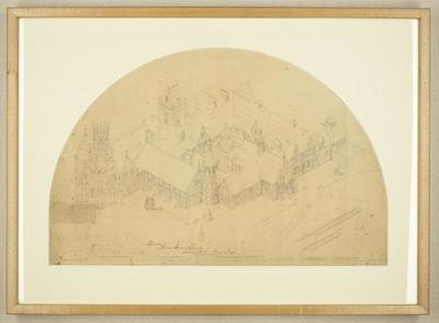 Mountfort Drawing: Design for Canterbury Provincial Council Buildings, 1855