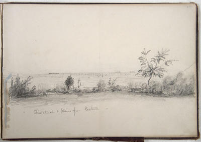 Pencil Drawing: Christchurch and Plains from Casterton