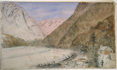 Watercolour Painting: Alpine Stream and Hut, Upper Rakaia