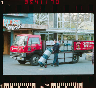 Negative: Canterbury Beer Freight Man With Kegs
