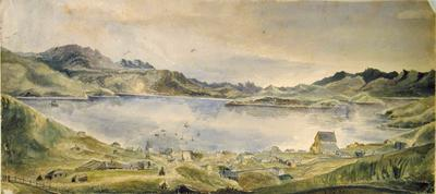 Painting:  Lyttelton Harbour from above the Town