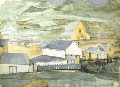 Painting: Town of Lyttelton and Holy Trinity Church