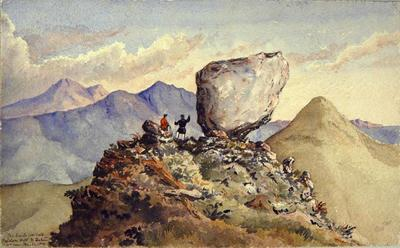 Painting: The Devil's Football, Haldon Hill, N. Zealand. First seen May 21, 1850