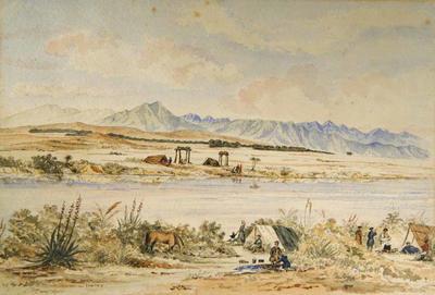 Painting: Camp, Banks of the Courtenay, (Waimakariri)