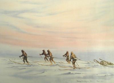 Lithograph: Sledge Hauling on Ski