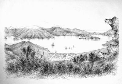 Drawing: Lyttelton, Port of Victoria