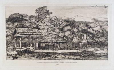 Etching: Nouvelle Zéalande/greniers indigenes et habitations à Akaroa (presqu'ile de Banks)