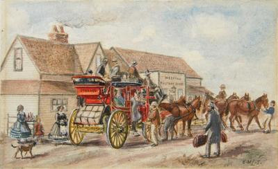 Painting: Coach at Weedens Half-Way House