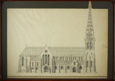 Mountfort Ink Drawing: Christchurch Cathedral North Elevation