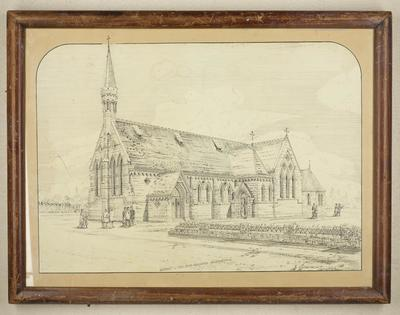 Mountfort Line Drawing: Anglican Church of the Good Shepherd, Phillipstown, 1877 [?]